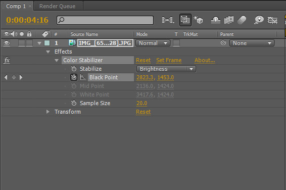 "Settings del filtro ""Color Stabilizer"" de After Effects"