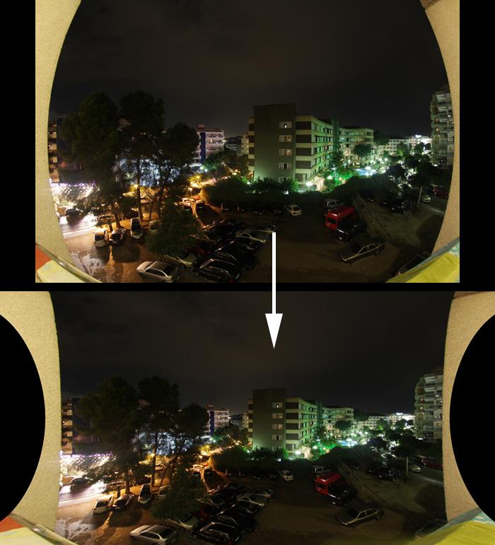 Comparación entre imagen original y procesada para eliminar distorsiones